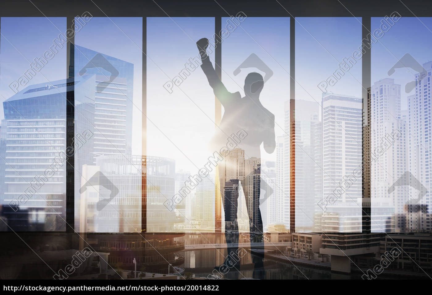 silhouette, of, business, man, over, city - 20014822