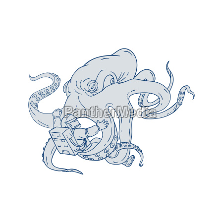 giant octopus fighting astronaut drawing