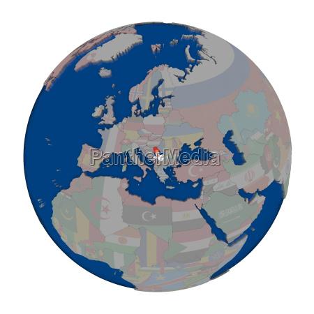 serbia on political globe