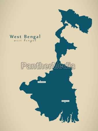 modern map west bengal in