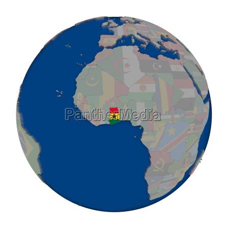 ghana on political globe