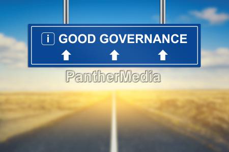 good governance words on blue road