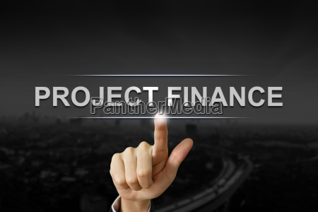 business hand pushing project finance button