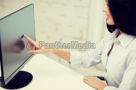 close up of woman with computer