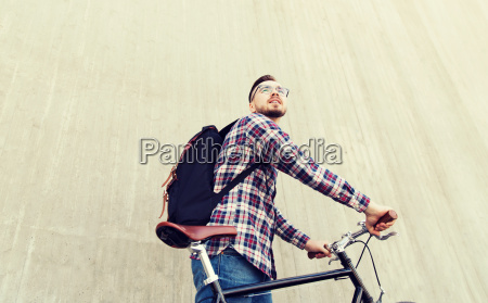 hipster man with fixed gear bike