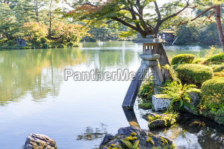 traditional japanese garden and water pond