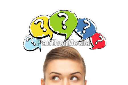 happy young woman head with question