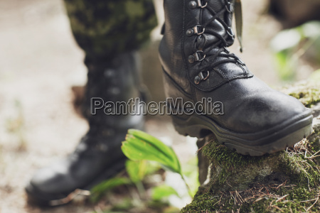 close up of soldier feet with