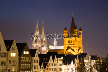 cologne cathedral with old town and