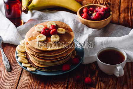 breakfast with homemade pancakes and cup