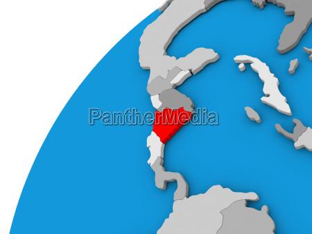 nicaragua on globe in red
