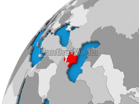 azerbaijan on globe in red