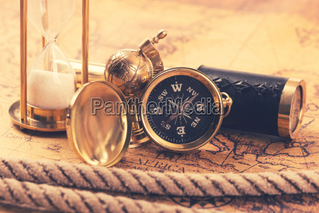 vintage compass and nautical items on