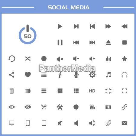 social media icons on simple presentation