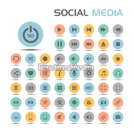 social media icons on colored buttons
