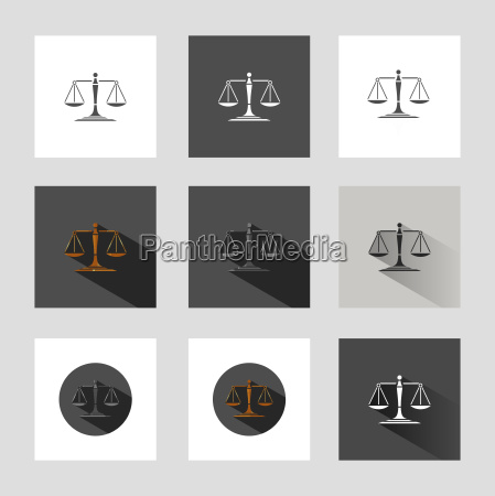 scales of justice icon set