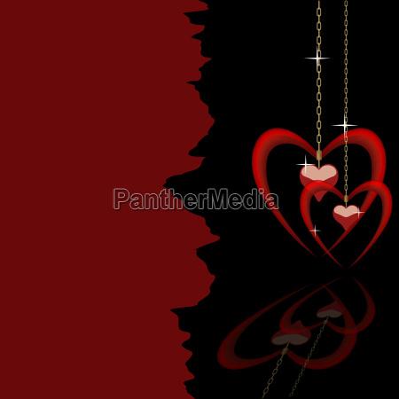 hanging valentine hearts background