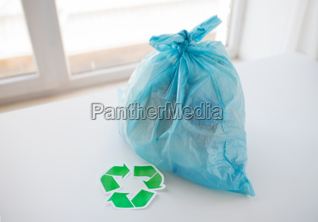 close up of rubbish bag with