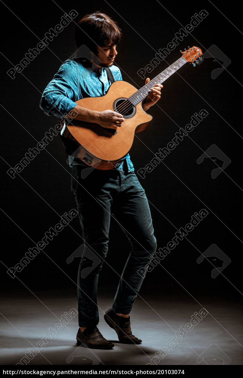 cool, guy, standing, with, guitar, on - 20103074