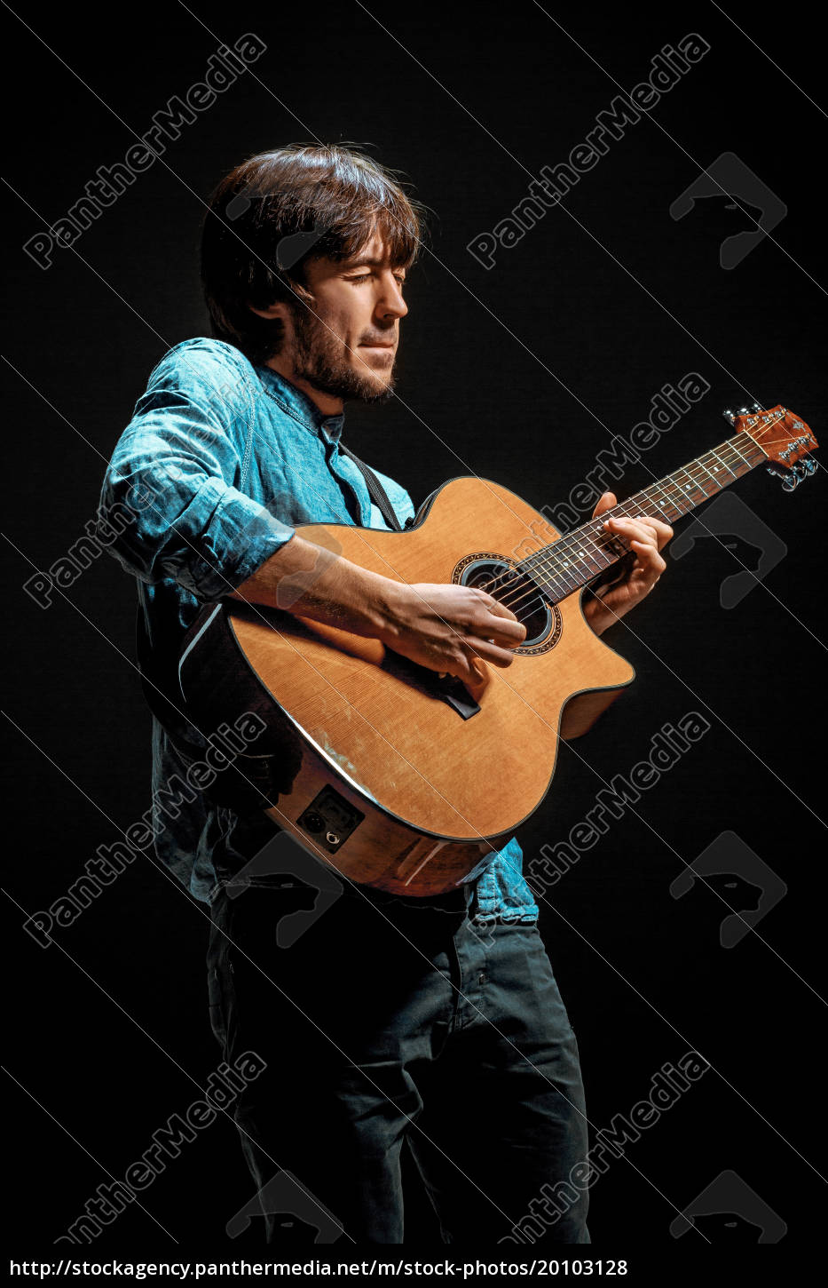 cool, guy, standing, with, guitar, on - 20103128