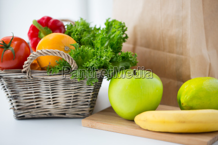 basket of fresh friuts and vegetables
