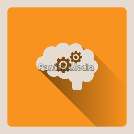 brain thinking illustration on yellow background
