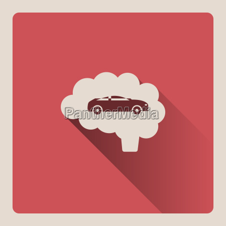 brain thinking in car illustration on