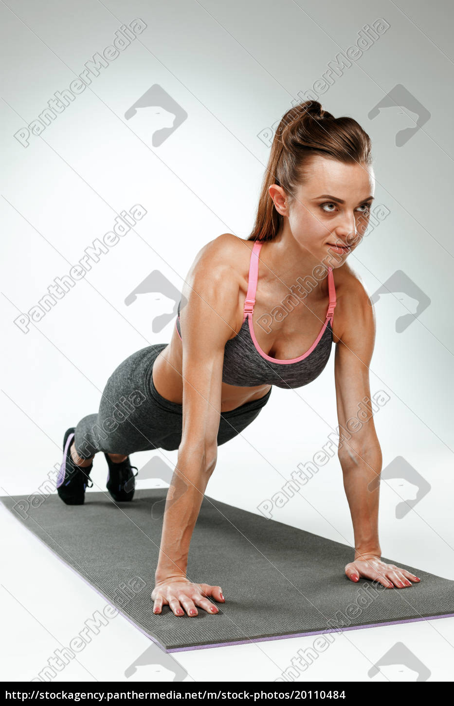 beautiful, slim, brunette, doing, some, stretching - 20110484