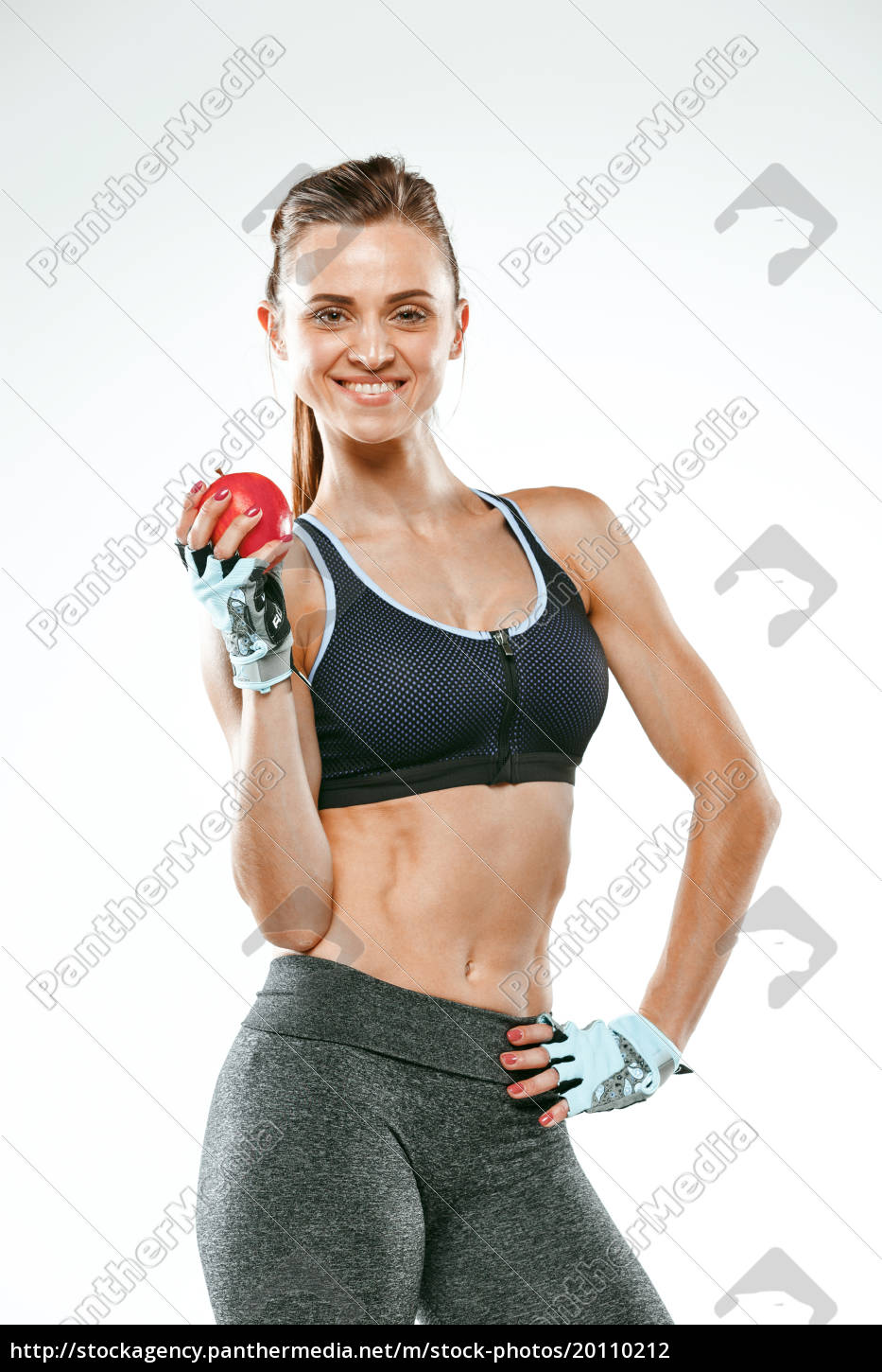 muscular, young, woman, athlete, on, white - 20110212