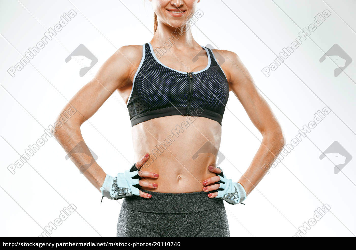 muscular, young, woman, athlete, on, white - 20110246