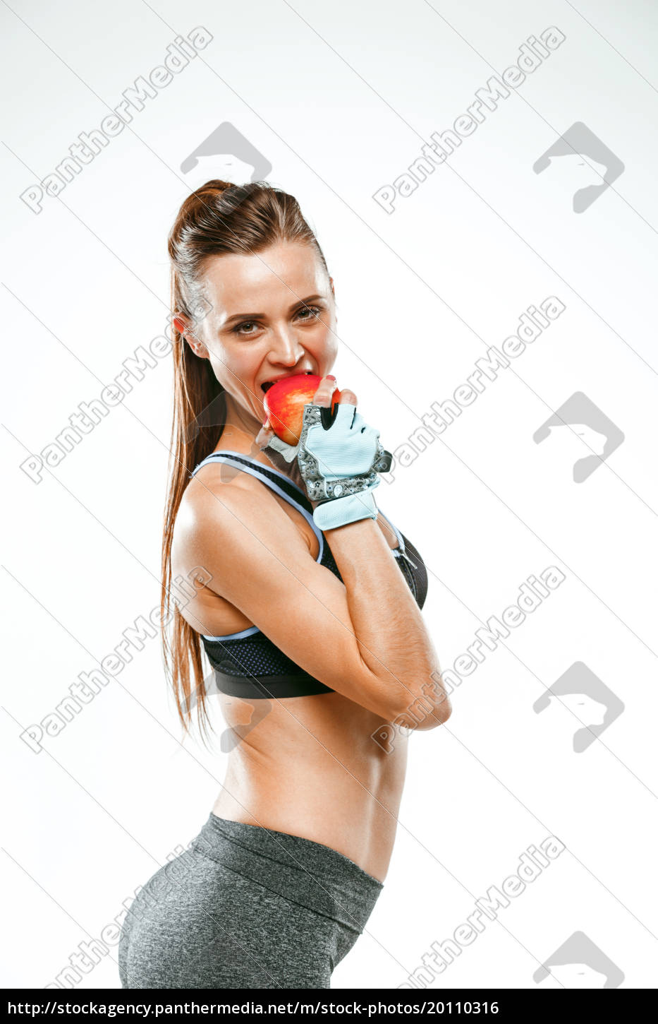 muscular, young, woman, athlete, on, white - 20110316