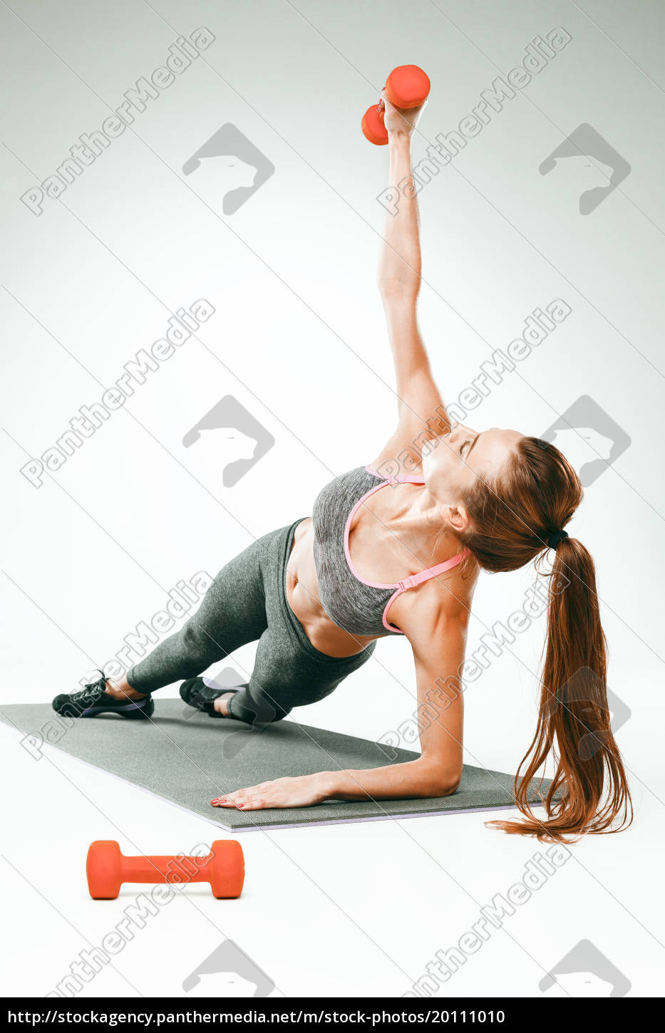 beautiful, slim, brunette, doing, some, stretching - 20111010