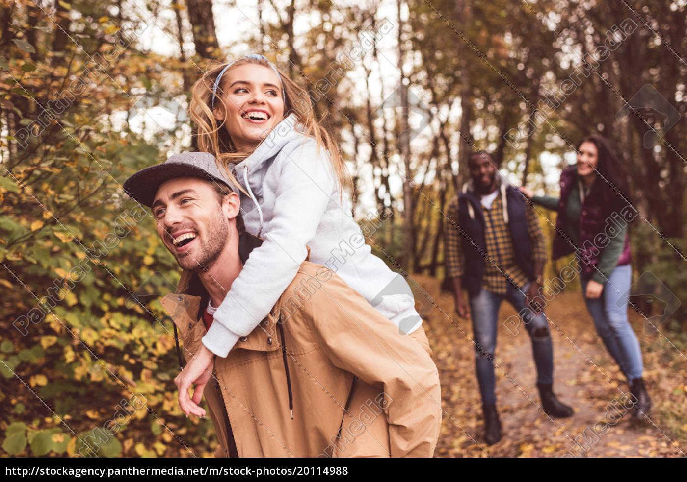 happy, friends, having, fun, in, forest - 20114988