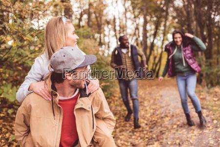 happy, friends, having, fun, in, forest - 20114990
