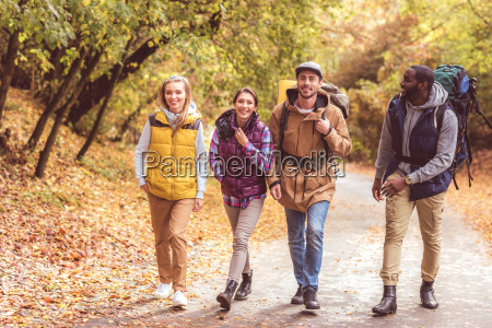 happy, young, backpackers, in, forest - 20114904