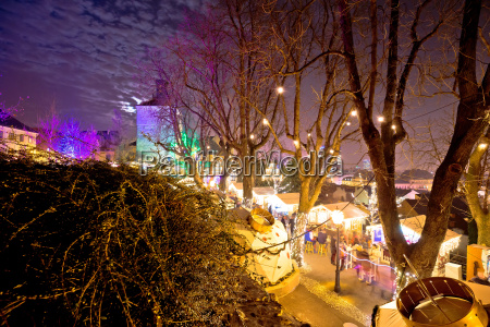 zagreb upper town christmas market evening