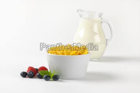 bowl of corn flakes and jug