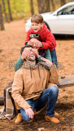 happy, family, playing, in, autumn, forest - 20116467