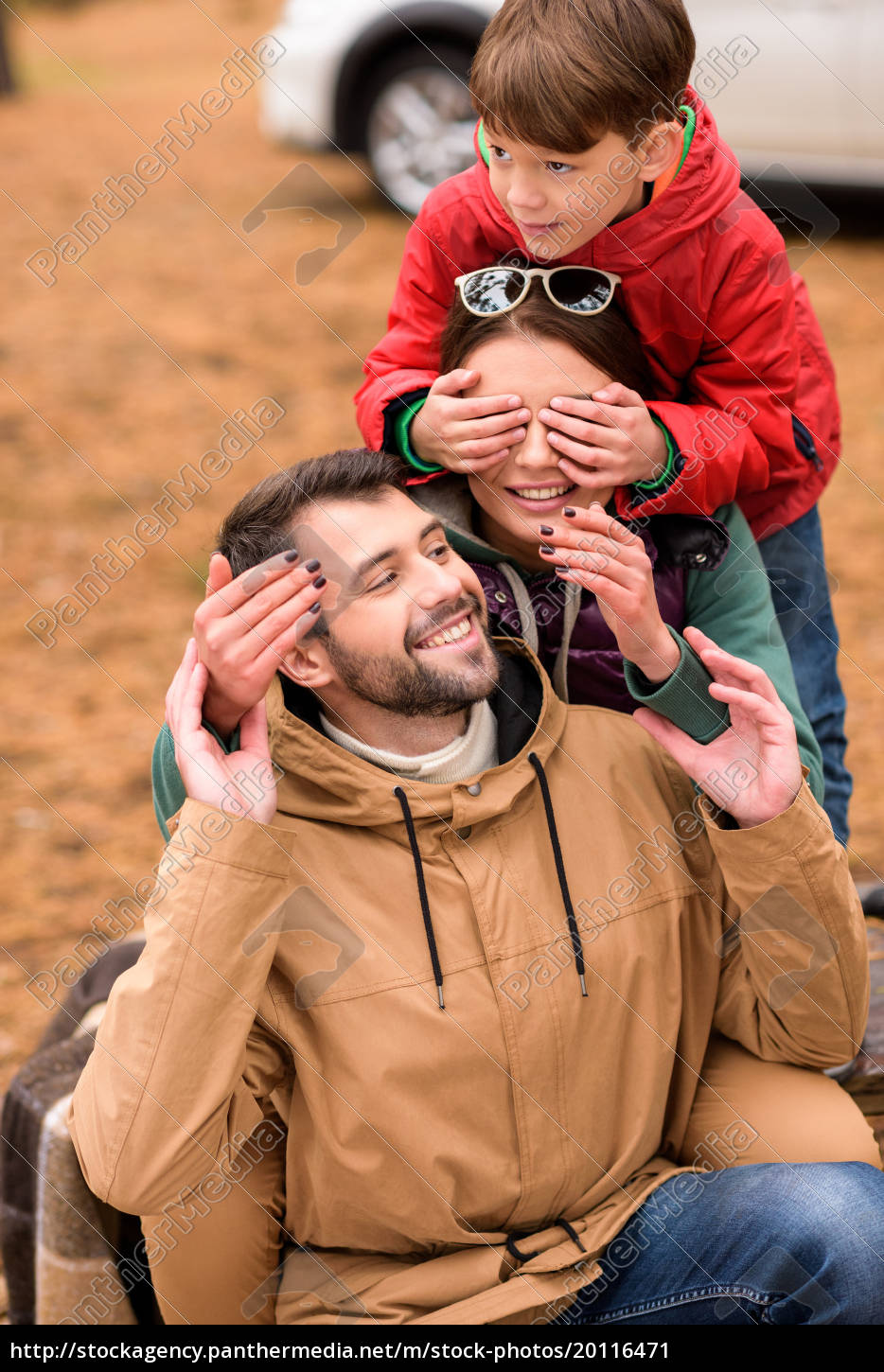 happy, family, playing, in, autumn, forest - 20116471