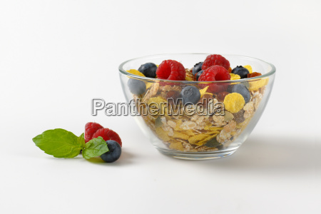 bowl of breakfast cereals and berry
