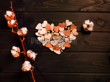 paper, hearts, and, cotton, flowers - 20117651