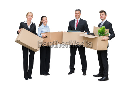 businesspeople, holding, cardboard, box - 20118815