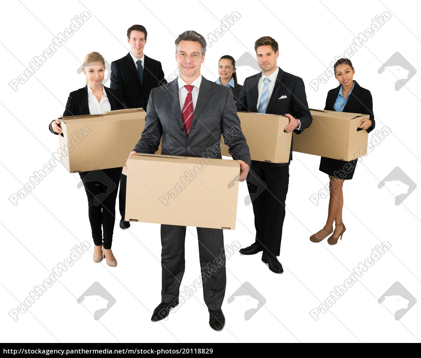 businesspeople, standing, with, cardboard, boxes - 20118829