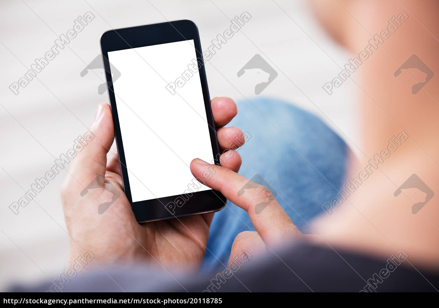 man's, hand, holding, cell, phone, with - 20118785