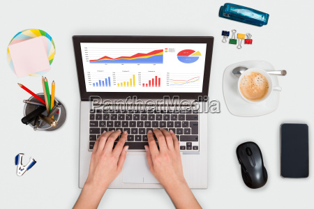 person, analyzing, statistical, graphs, on, laptop - 20118991