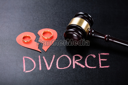 close up of divorce concept on