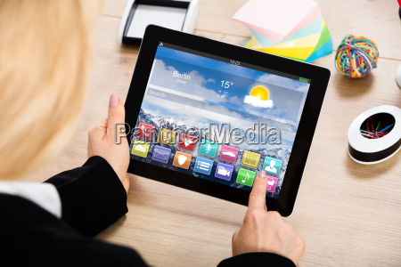 businesswoman, with, digital, tablet, in, office - 20119565