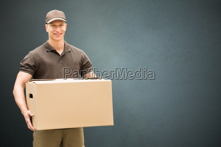 delivery, man, holding, cardboard, box - 20119009