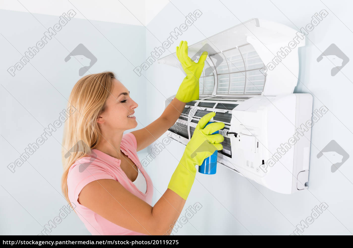 happy, woman, cleaning, the, air, conditioner - 20119275