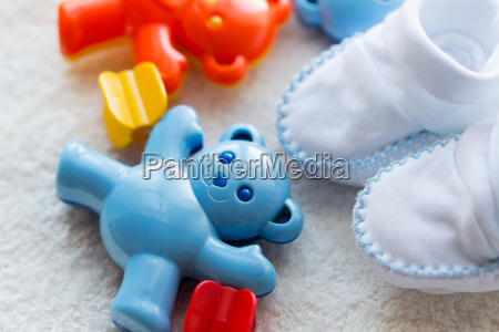 close up of baby rattle and